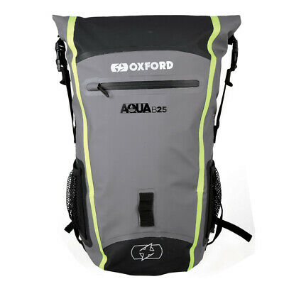Oxford Aqua B25 Black/Grey/Fluo Waterproof Motorcycle Bike Back Pack Rucksack