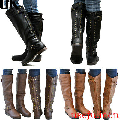 Women Chunky Low Heel Riding Boots Wide Calf Side Buckle Zip Knee High Shoe Size