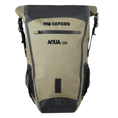 Oxford Aqua B25 - Black / Khaki - Waterproof Motorcycle Bike BackPack Rucksack