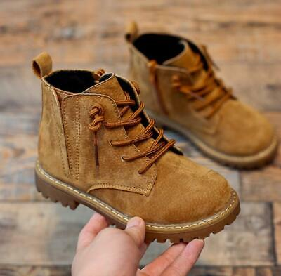 Kids Boys Girls Zip Chelsea Ankle Boots Retro Leather Trainers Winter Shoes Size