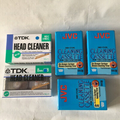 Lot of x5 Cleaning Cassettes for VHS-C Camcorder - TDK & JVC -Brand New & Sealed