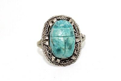 A Pretty Antique Art Deco Sterling Silver 925 Egyptian Scarab Ring #15084