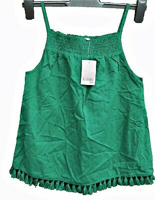 Girls' Emerald Green Strappy Top With Tassel Hem, Next, Age 12 Yrs, Rrp £14
