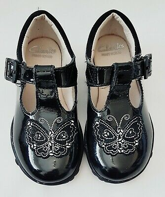 Clarks Light Up Black Patent Leather Infant Girls First Shoes, Sz 5 1/2
