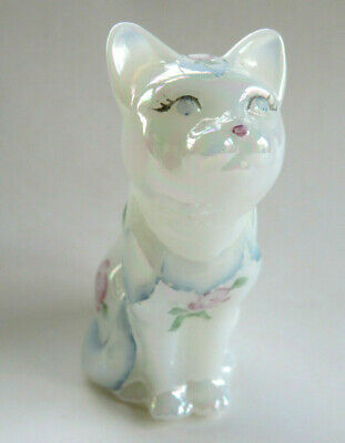 Fenton Art Glass Cat Iridescent White With Hand Painted Flowers Roses Signed