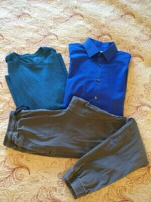 Teen boys mens size S small fall/winter lot shirt dress shirt jogger pants EUC!
