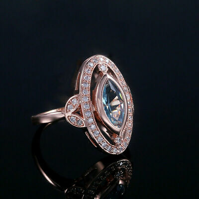 Elegant Rose Gold Filled Rings for Women Jewelry Oval Cut Aquamarine Size 6-10