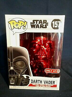 "Funko Pop! Star Wars Red Chrome Darth Vader #157 Target ""Red Card"" Exclusive!"