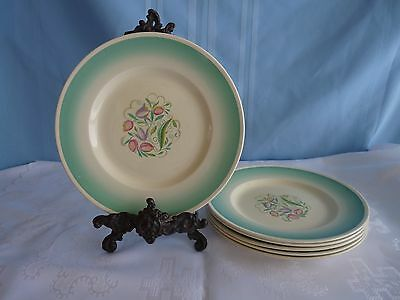 "Susie Cooper SET SIX - 9"" LUNCH PLATES Dresden Spray Green Wash Band ENGLAND"