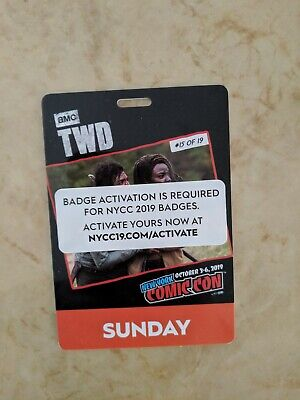 COMIC CON Sunday Adult Badge - New York NYCC NY NYC 2019 Javits Center Oct 6