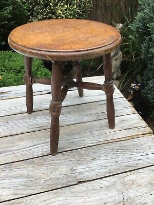 Antique Oak Stool, Plant Stand Side Table