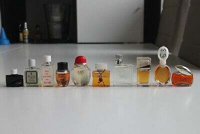 Lot of 10 Miniature Mini Perfume Parfum Bottles Vintage Fragrance (2)
