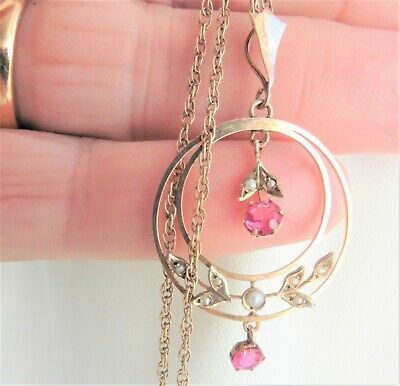 Lovely Edwardian Faux Ruby And Seed Pearl Pendant