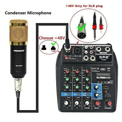 4 Channel Music Sound Mixing Console Audio Mixer Bluetooth Record for Live Stage
