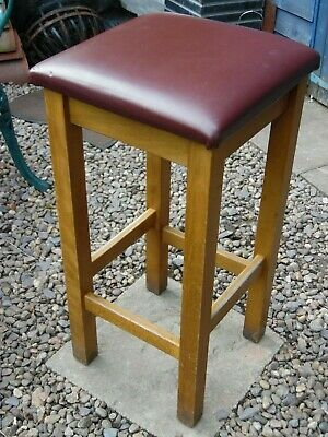Vintage Sturdy Solid Wooden Pub Bar Stool/ Industrial Stool With Leather Seat