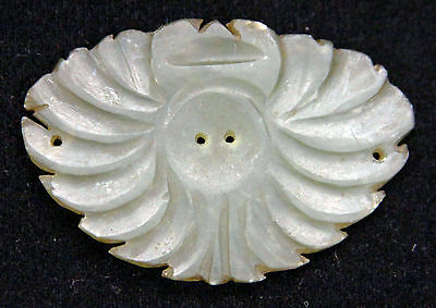 Antique Chinese Qing Carved Jade Plaque Flower Clothes Ornament Nephrite Jadeite