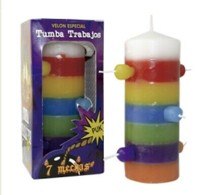 Velon Especial Tumba Trabajos -  7 Mechas 7 Colores - Spell Witches Witchcrafts