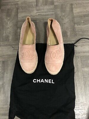 Authentic Chanel Blush Light Pink Suede Espadrilles 39