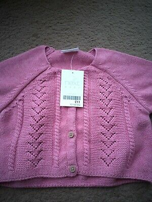 BNWT Girl's Pink Cardigan, 12-18 Months, Next, Long Sleeved