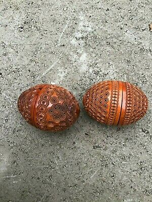 2x Antique Ornate Carved Coquilla Nut Pomanders,Treen