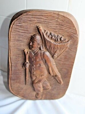 Vintage/Antique 3D Hand Carved Wood Plaque Wall Hanging of  Asian Man.