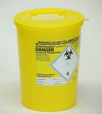 48 X 3.75 Litre Sharps Bin Box Medical Waste Lightweight Compact  3750 ml