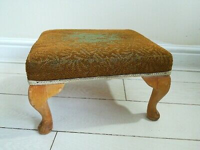 Vintage Foot Stool/Seat Wooden Queen Anne Style Legs-Red Fabric cover
