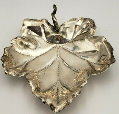 Vintage Sterling Silver Maple Leaf Dish with Ball Feet #7625