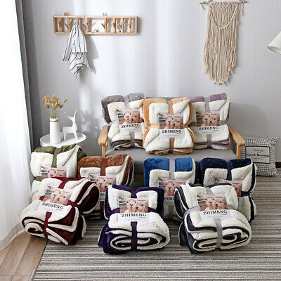 Lamb Double Bed Warm Thicken Fluffy Velvet Blanket Single Blanket Solid Color