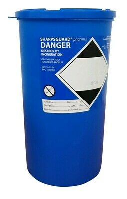 48 X Sharpsguard Sharps Bin 5 litre Blue Pharmi Container Medical Waste