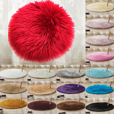Fluffy Faux Fur Round Rug Living Room Bedroom Anti-Skid Fluffy Carpet Floor Mat