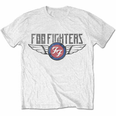 Official Foo Fighters T Shirt Flash Wings Concrete & Gold White Rock Tee Grohl