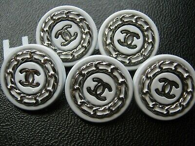 CHANEL  5 CC  WHITE SILVER  20mm BUTTON THIS IS FOR FIVE