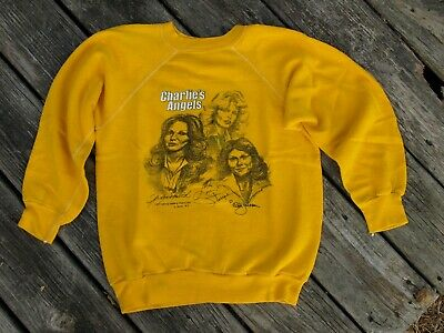 Vintage Authentic Charlies Angels Yellow Shirt Sweatshirt Girl's sz L 14-16 1977