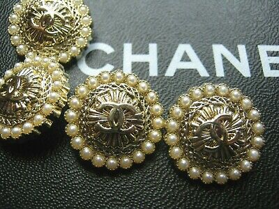 CHANEL  4 CC  PEARLS, MATTE GOLD  22mm BUTTONS THIS IS FOR FOUR