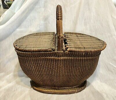 Rare Antique Primitive Early American Shaker Woven Lidded Basket