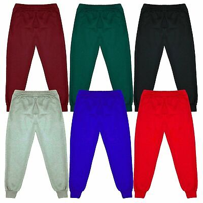 Kids Children Warm Fleece Jogging Bottoms School Plain Joggers Pants 2-14 Years