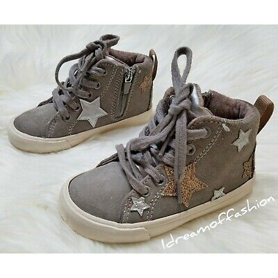 ZARA Baby Girl Star Leather High Top Lace Up Sneakers Size 5.5 US