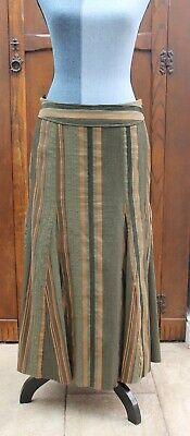 Gorgeous Green And Copper Threaded Long Boho Skirt M&S 10 84cm/33in Long Ex Cond