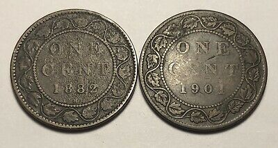 Combo Lot of 2 - Canada 1882 & 1901 Large One Cent Coins - Queen Victoria