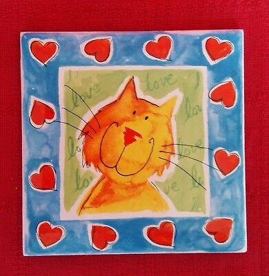 Cat Drinks Coaster Funky Cat Red Hearts Blue Border Ceramic Gift