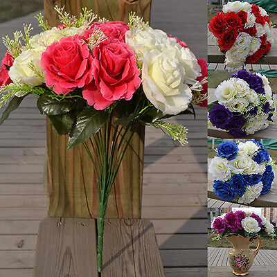 SN_ QA_ LC_ GN- Large 24 Heads Bridal Wedding Artificial Faux Silk Rose Flower