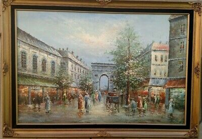 Original Oil - Rainy Street In Paris - Unknown Artist - High Quality - Excellent