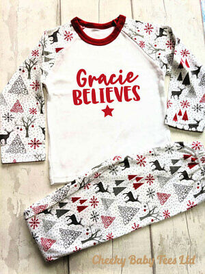 Personalised children's Christmas pyjamas PJs,Any name believes,3-4 and 4-5 yrs