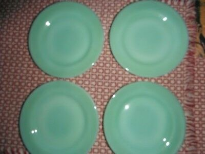"Vtg Fire King Jadeite 5 1/2"" Bread & Butter Plates Set 4 Restaurant Ware"