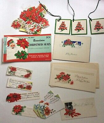 Lot Vintage Dennison Stickers Seals Norcross Gift Tags Antique Cards Poinsettia