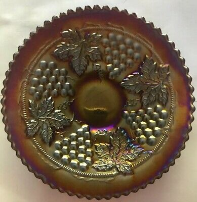 "Northwood ""Grape & Cable"" Amethyst/Purple 6"" Carnival Glass Plate"
