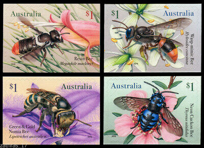 2019 Native Bees - Set of 4 Self Adhesive Booklet Stamps - MUH