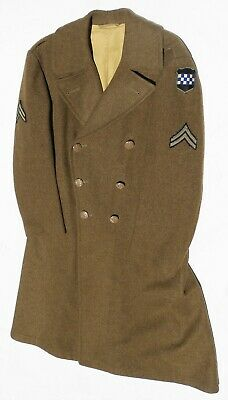 ORIG EXC WWII US ARMY 99th DIV CORPORAL BROWN/OD WOOL OVERCOAT 40R DATED 1/10/45