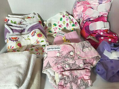 14pc Cloth Diaper Lot Bagshot Row Bamboo Thirsties ImseVimse Jumparoos Bumpkins